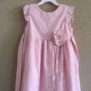 Girls soft pink lace dress.